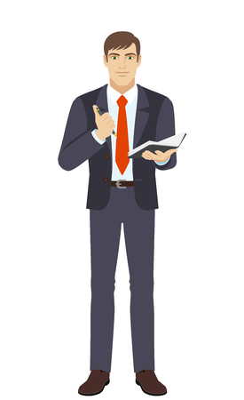 jotter: Businessman with pen and pocketbook. Full length portrait of businessman in a flat style. Vector illustration.