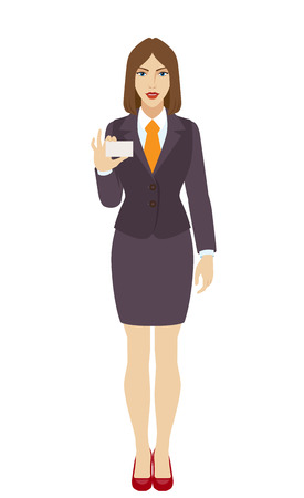 Businesswoman shows the business card. Full length portrait of businesswoman in a flat style. Vector illustration. Illustration