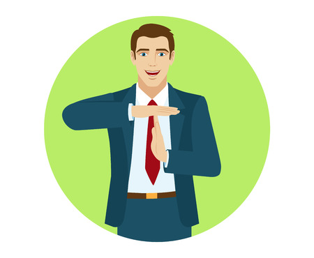 intermission: Businessman showing time-out sign with hands. Portrait of businessman in a flat style. Vector illustration.