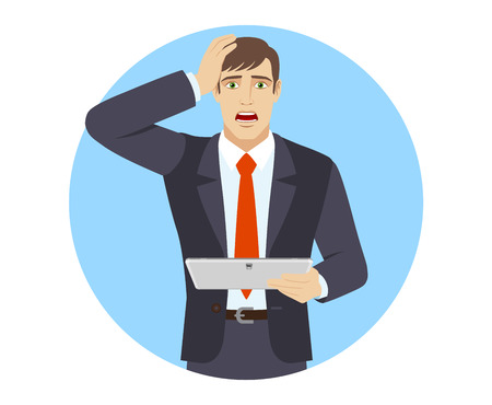 Shocked businessman holding digital tablet PC and grabbed his head. Portrait of businessman in a flat style. Vector illustration.