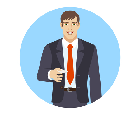 acquaintance: Businessman gives a business card.  Portrait of businessman in a flat style. Vector illustration.