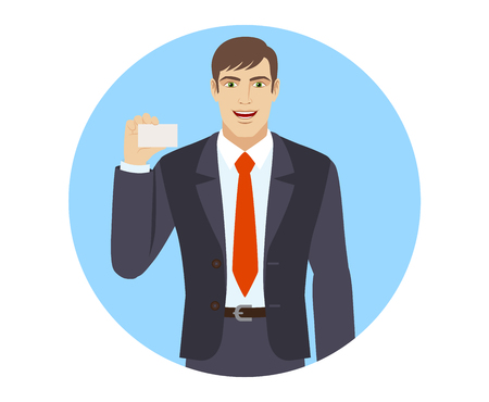 acquaintance: Businessman shows the business card.  Portrait of businessman in a flat style. Vector illustration.