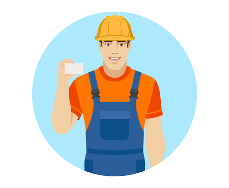 Builder shows the business card. Portrait of builder in a flat style. Vector illustration. Illustration