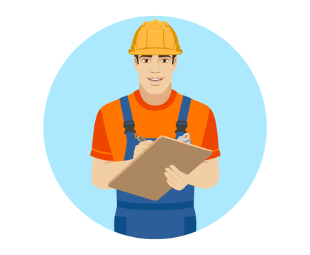 Builder writes on the clipboard closeup. Portrait of builder in a flat style. Vector illustration.