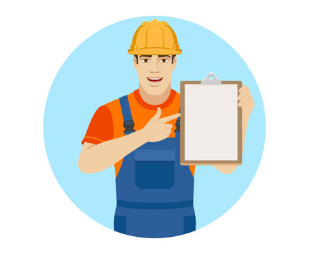 Builder pointing the finger to clipboard. Portrait of builder in a flat style. Vector illustration.