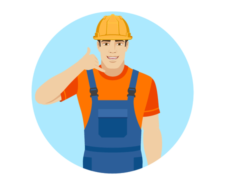 Call me! Builder showing us a call me sign. Portrait of builder in a flat style. Vector illustration. Illustration