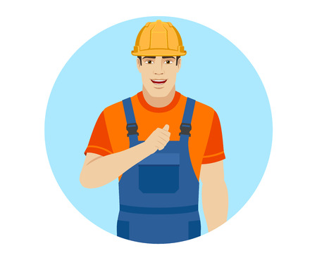 Builder pointing the finger at yourself. Self-promotion. Portrait of builder in a flat style. Vector illustration.