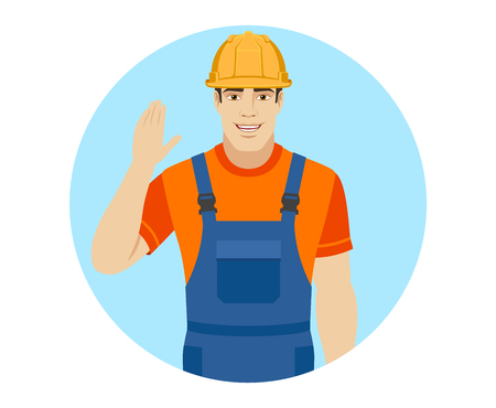 acquaintance: Builder greeting someone with his hand raised up. Portrait of builder in a flat style. Vector illustration.