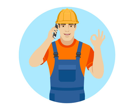 workwear: OK! Builder talking on the phone and show a okay hand sign. Portrait of builder in a flat style. Vector illustration. Illustration