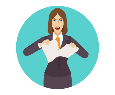 tearing: Angry businesswoman tearing paper. Portrait of businesswoman in a flat style. Vector illustration. Illustration