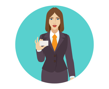 acquaintance: Businesswoman shows the business card.  Portrait of businesswoman in a flat style. Vector illustration.