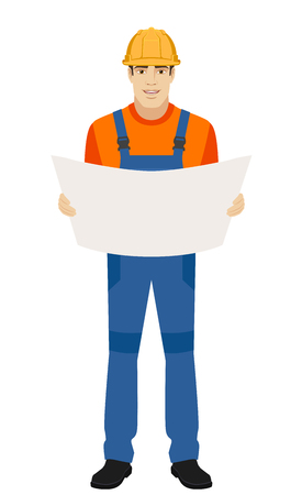 Builder holding the project plan. Full length portrait of builder in a flat style. Vector illustration.