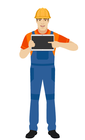 Builder pointing the finger to digital tablet PC. Full length portrait of builder in a flat style. Vector illustration.