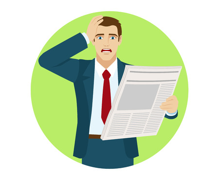 bad news: Bad news. Shocked businessman  reading a newspaperand grabbed his head. Portrait of businessman in a flat style. Vector illustration.
