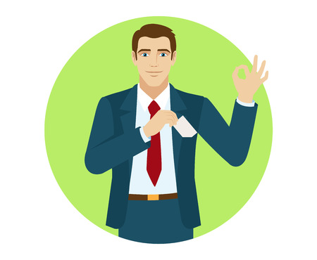 businesscard: OK! Smiling businessman puts the business-card in his pocket and show a okay hand sign. Portrait of businessman in a flat style. Vector illustration. Illustration