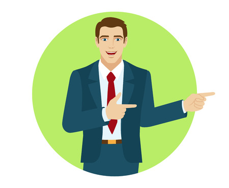 somewhere: Two index fingers pointing. Businessman showing somewhere.  Portrait of businessman in a flat style. Vector illustration. Illustration