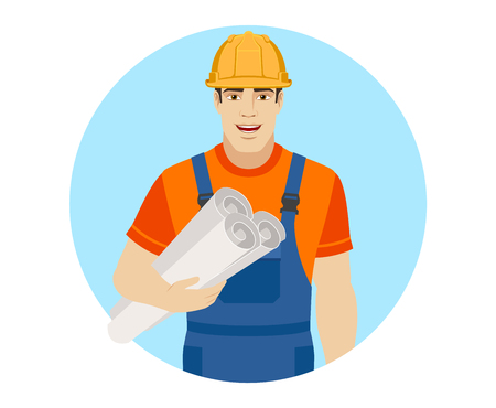Builder holding the project plans.  Portrait of builder in a flat style. Vector illustration. Illustration