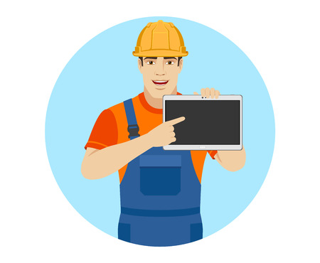 Builder pointing the finger to digital tablet PC. Portrait of builder in a flat style. Vector illustration. Illustration