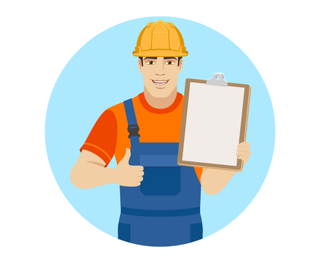 Builder holding clipboard and shows thumb up. Portrait of builder in a flat style. Vector illustration. Illustration