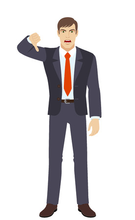 rejection: Businessman showing thumb down gesture as rejection symbol. Full length portrait of businessman in a flat style. Vector illustration.