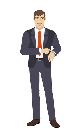 Businessman pointing at his watch. Full length portrait of businessman in a flat style. Vector illustration. Illustration