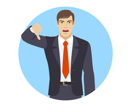 rejection: Businessman showing thumb down gesture as rejection symbol. Portrait of businessman in a flat style. Vector illustration. Illustration
