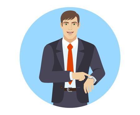 puntualidad: Empresario apuntando a su reloj. Retrato de hombre de negocios en un estilo plano. Ilustración del vector.
