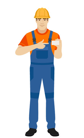 Builder pointing on business card. Full length portrait of builder in a flat style. Vector illustration.