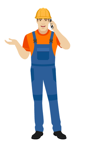 gesticulation: Builder gesturing and talking on the mobile phone. Full length portrait of builder in a flat style. Vector illustration. Illustration