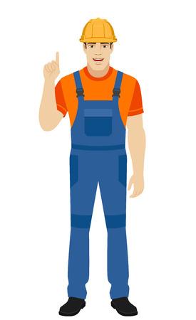 Builder pointing up. Full length portrait of builder in a flat style. Vector illustration. Illustration