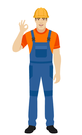 OK! Builder show a okay hand sign. Full length portrait of builder in a flat style. Vector illustration. Illustration