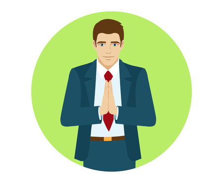 Businessman bowed his head in greeting. Portrait of businessman in a flat style. Vector illustration. Illustration