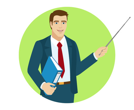 Businessman shows pointer. Portrait of businessman in a flat style. Vector illustration.