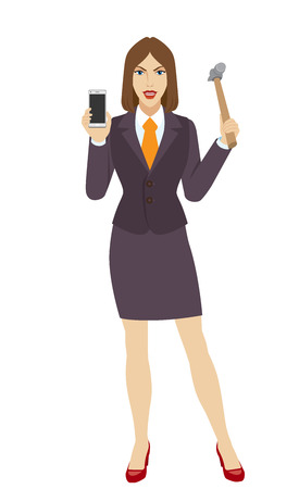 Businesswoman trying to break a mobile phone with a hammer. Full length portrait of businesswoman in a flat style. Vector illustration. Illustration