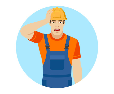 Builder with shock expression on face. Portrait of builder in a flat style. Vector illustration.