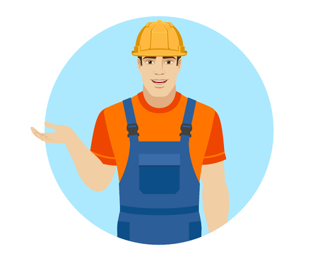 gesticulation: Builder gesturing. Portrait of builder in a flat style. Vector illustration.