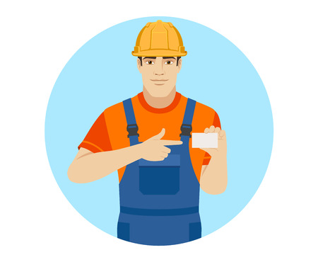 Builder pointing on business card. Portrait of builder in a flat style. Vector illustration.
