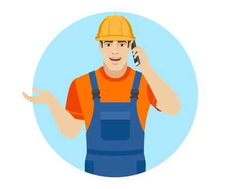 Builder gesturing and talking on the mobile phone. Portrait of builder in a flat style. Vector illustration. Illustration