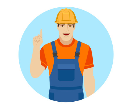 Builder pointing up. Portrait of builder in a flat style. Vector illustration.