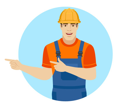 somewhere: Two index fingers pointing. Builder showing somewhere. Portrait of builder in a flat style. Vector illustration.