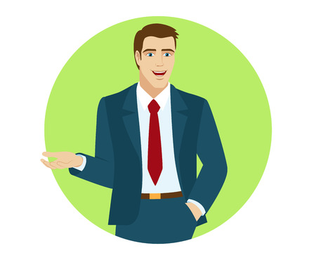 gesticulation: Businessman gesturing. Portrait of businessman in a flat style. Vector illustration.