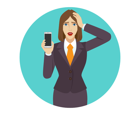 Businesswoman holding a mobile phone and grabbed his head. Portrait of businesswoman in a flat style. Vector illustration.