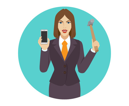 break in: Businesswoman trying to break a mobile phone with a hammer. Portrait of businesswoman in a flat style. Vector illustration.