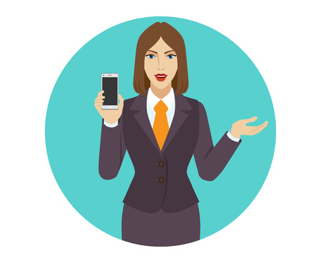 gesticulation: Businesswoman holding a mobile phone and gesturing. Portrait of businesswoman in a flat style. Vector illustration.