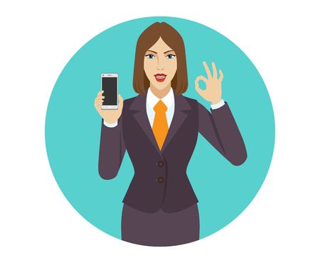 okey: Businesswoman holding a mobile phone and  show a okay hand sign. Portrait of businesswoman in a flat style. Vector illustration. Illustration