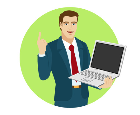 communications technology: Businessman holding laptop notebook and pointing up. Portrait of businessman in a flat style. Vector illustration.