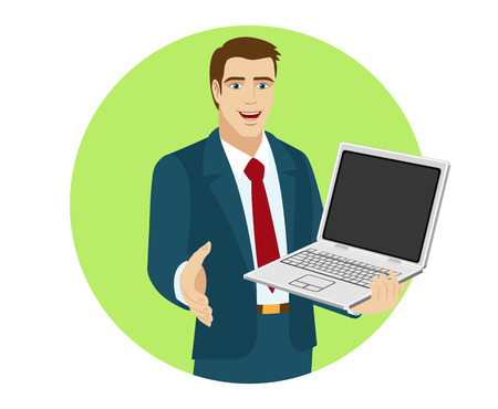Businessman holding laptop notebook and gives a hand for a handshake. Portrait of businessman in a flat style. Vector illustration. Illustration