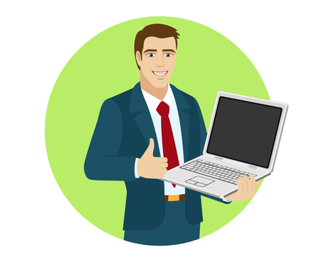 Businessman holding laptop notebook and shows the thumb up. Portrait of businessman in a flat style. Vector illustration.