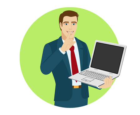 gesticulation: Hush hush. Businessman holding laptop notebook. Portrait of businessman in a flat style. Vector illustration.