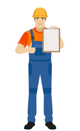 Builder holding clipboard and shows thumb up. Full length portrait of builder in a flat style. Vector illustration. Illustration